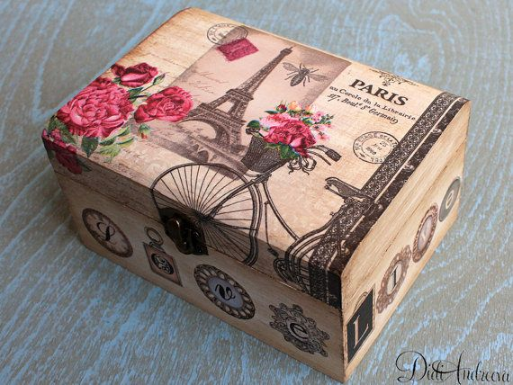 Wooden jewelry box, Personalized box,decoupage box, shabby chic box, Paris decoration, home decoration, art box, handmade, artificially aged