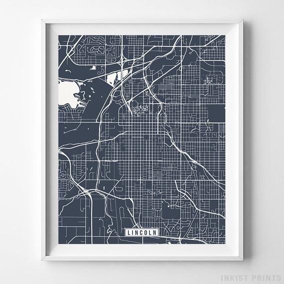 Lincoln Nebraska Map Print Street Poster City Road Etsy Map Wall Art Poster Wall Art Vertical Wall Art