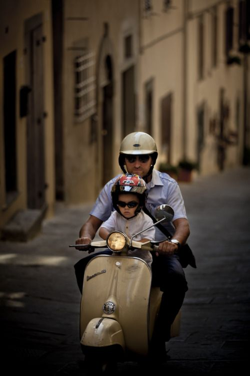 One day, when I have a child of my own, whenever they may be, I would like to do this.    Father and son #Vespa