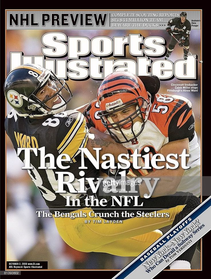 October 2, 2006 Sports Illustrated Cover, Football: Cincinnati Bengals Caleb Miller (58) in action, making tackle vs Pittsburgh Steelers Hines Ward (86), Pittsburgh, PA 9/24/2006