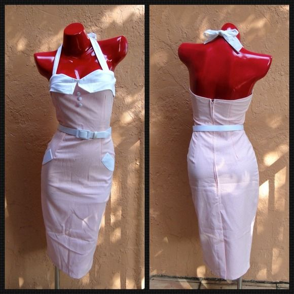 """✅ Pin-up Halter Dress w/belt Brand NewNWT! Super Cute! Constructed of high quality curve friendly bengaline with soft knit. Gives a hourglass silhouette and smart kick pleat in back 1"""" white slide belt. Bust: 34-36, Waist: 26-27.5 Hips: 35-38 Size: Small NO TRADES Dresses"""