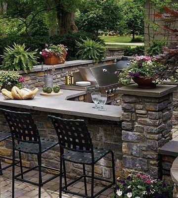 Backyard barbecue station.