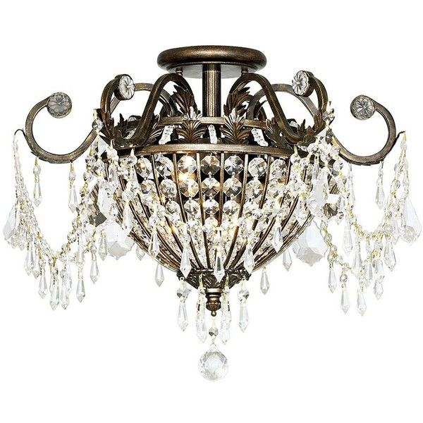"Crystorama Parisian 19"" Wide Ceiling Light Fixture ($478) ❤ liked on Polyvore featuring home, lighting, ceiling lights, light, brown, close to ceiling lights, crystorama lighting, brown lamps, crystorama light and euro lighting"