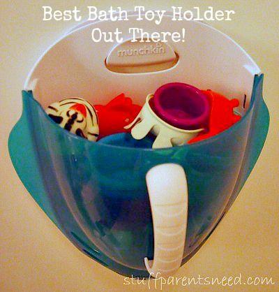 Munchkin bath scoop provides the best bath toy storage option. It really works!!!