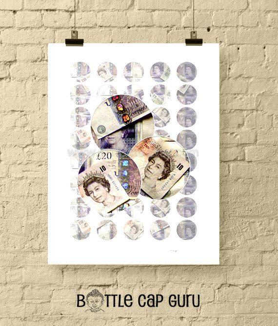 British Pound Sterling / 1 Inch Circle Digital Downloads // Printable, Instant Download