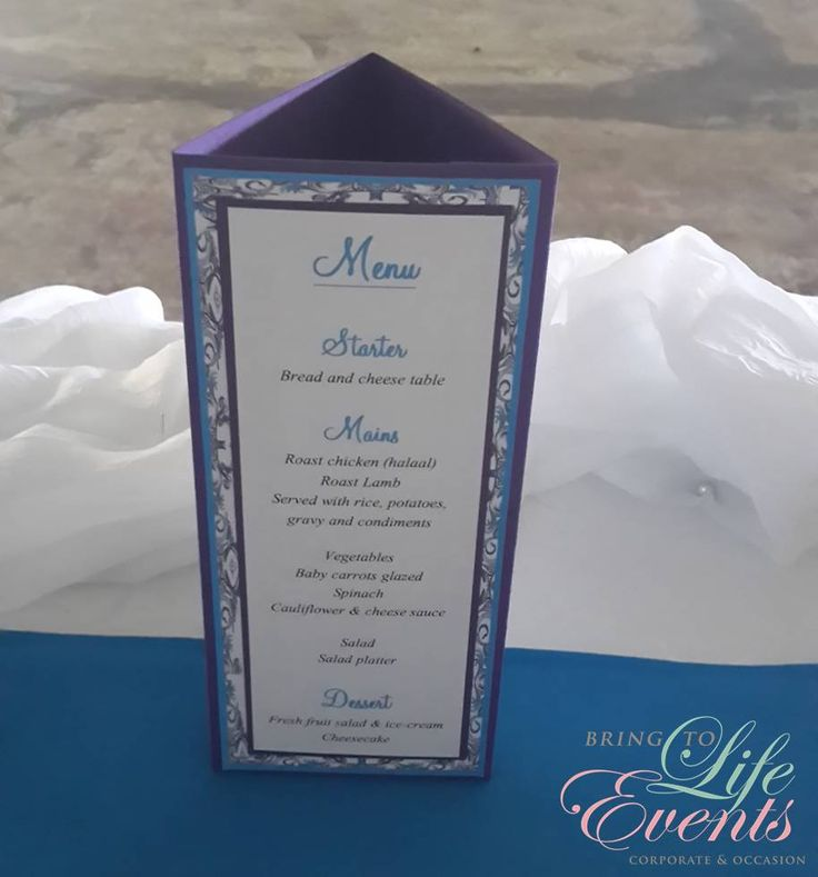 Purple & Blue pattern menu for wedding stationery with orchids & lilies