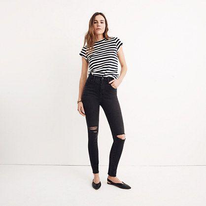 Short Curvy High-Rise Skinny Jeans in Black Sea