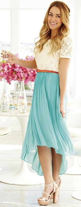 Love Lauren Conrads simple classy style :) so pretty! Hi-Low chiffon skirt, Lauren Conrad Light blue hi-low Coral lace top Carmel brown belt
