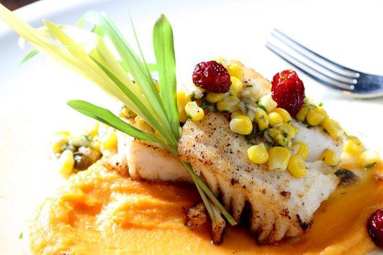 Hotel Palomar Philadelphia's Square 1682 produces beautiful dishes like the above Halibut with corn salsa. (Photo Courtesy: Square 1682)