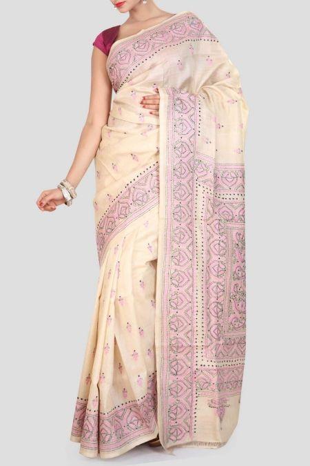 Beige & Pink Kantha Stitch Tussar Silk Saree