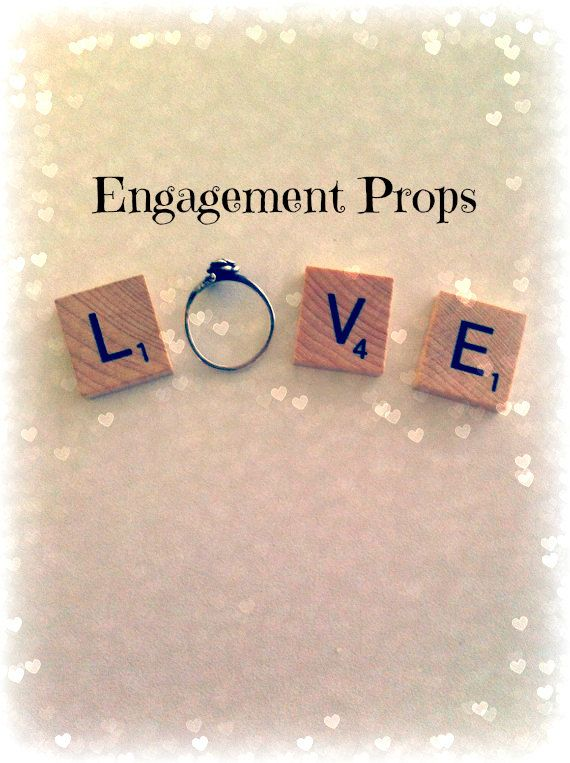 Custom Engagement Photo Props Love Scrabble by HidingPlaceBoutique