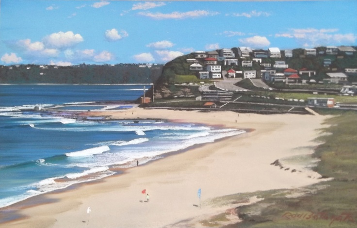 """Merewether Beach Looking South"" by Rod Bathgate. To browse and buy from the latest exhibition ""The Summer of Love"" visit www.cookshillgall... #Art #AustralianArt #RodBathgate #Newcastle"