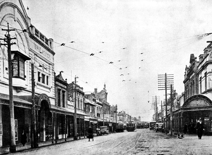 Hopkins Street Footscray with Trocadero Theatre on the left ~ 1924. My Grandpa met my Grandma dancing at the Trocadero. He says he used to go to the dances 7 nights a week, all over the city - that's how many dancehalls were in Melbourne in the decades between the 1930s and the 1950s