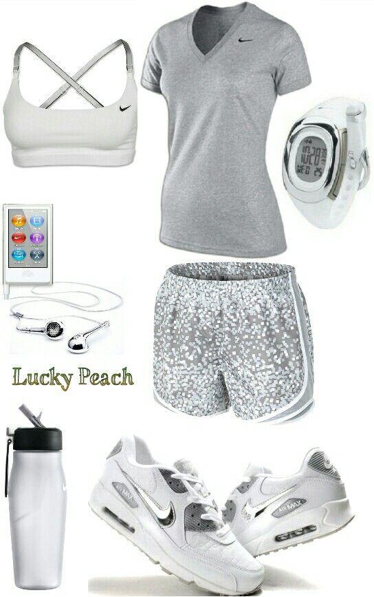 Women's fashion white Nike gym outfit