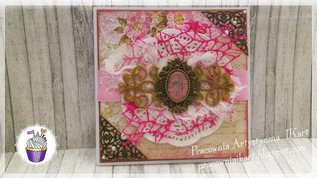 Pracownia artystyczna IKart: Imieninowo-urodzinowa kartka z nutką różu i szczyp...