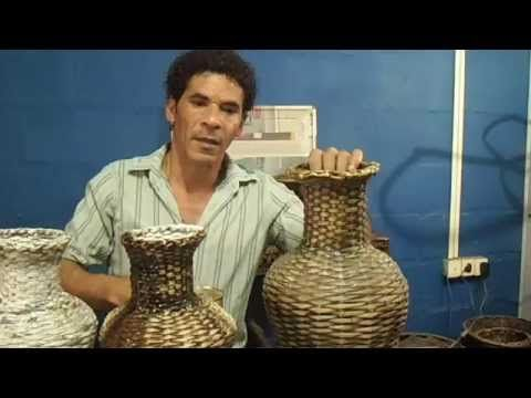 cestaria com jornal   VASO   MODULO 13
