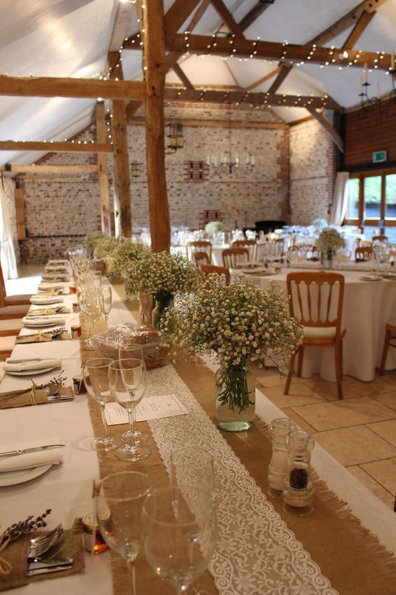 rustic vinatge lace and baby breath wedding table setting decor ideas / http://www.deerpearlflowers.com/barn-wedding-reception-table-decoration/