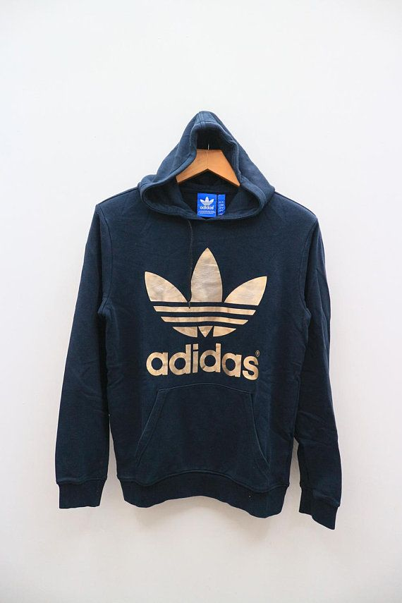 Vintage Adidas Big Logo Sportswear Black Hoodies Sweater Sweatshirt