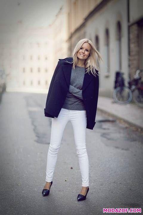 Siyah Beyaz Pantolon Kombini