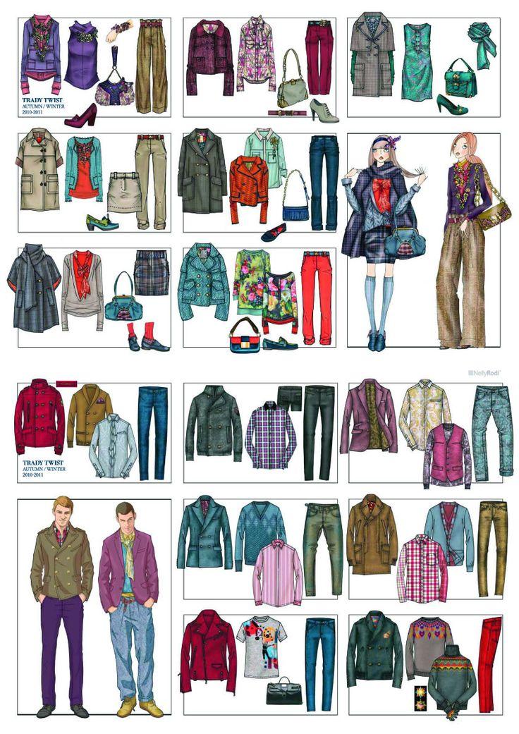 Trend book, 10-11, trady-twist. Английский стиль.    Ретро цвета, например верблюжий, серый, тёмно-бордовый, зелёный разбавляем кислотными цветами английских пирожных - розовые кексы, голубика, мармелад - и вуаля!    Роскошные цвета фиолетовый, красный, кирпичный, охра, синий.  КрасныЙ и бронза сочетаем вместе с темно-серыми.    В тканях - гобелены, вышивка, стиль Барокко 18 века, орнаменты.  Ткани натуральные - твид, шерсть, шёлк.    То что традиционно надевали мужчины - теперь для женщин.