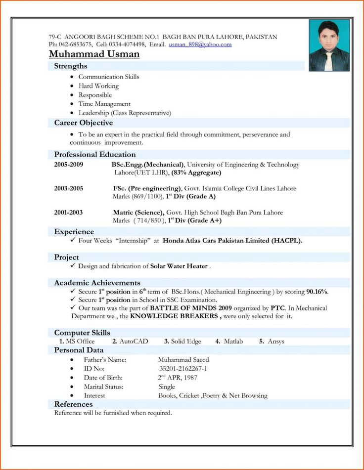Latest Resume Format Templates For Freshers Free Download