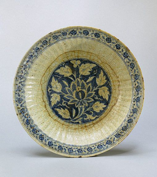 Fluted Dish  Iran, 16th century Faience; painted in cobalt. Diam. 35.5 cm  Source of Entry:   All-Union Society 'Antiquariat'. 1933 Leningrad