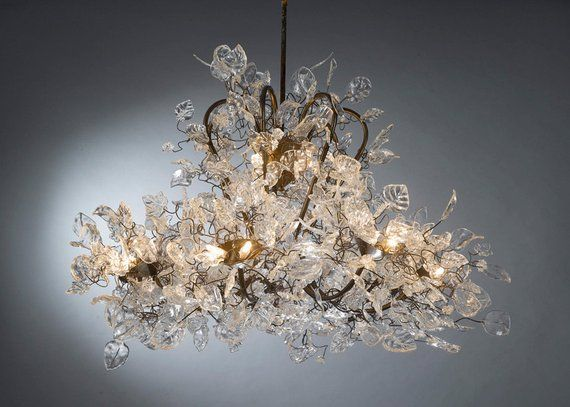 Ceiling Light Fixture Chandelier, Lighting with clear flowers for Living Room, Dining Room table or bedroom elegant lighting.