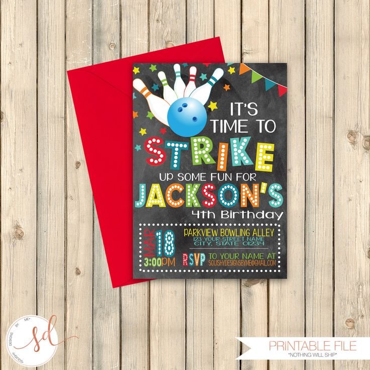 Bowling Bash Birthday Invitation, Roll On Over, Time To Strike Up Some Fun Invite, Boy Bowling Party Invitation, Bowling Ball Pins, Digital by SquishyDesignsbyMe on Etsy