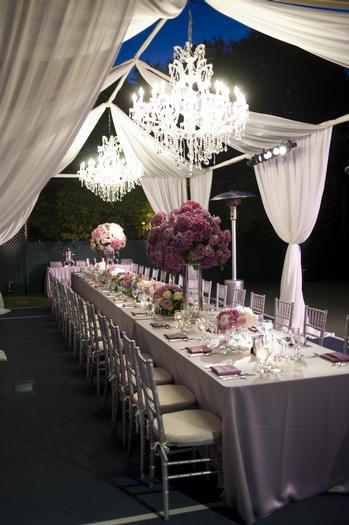 wow - use the marquee frame, but drape fabric lengths instead for elegant alfresco dining - imaginative!