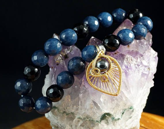 Beautiful beaded bracelets made with Agate beads. This beautiful and original bracelet is unique. I added one shiny sterling silver bead and 24 K gold plated heart shaped charm with hematite as a pretty accent.  It will be a perfect fit on the wrist with a circumference of about 15-17 cm