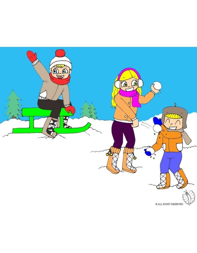 Disegno: Giocare con la Neve. Disegni colorati per bambini da stampare gratis. Puoi stampare, scaricare il disegno o guardare gli altri disegni simili a questo. disegnidacolorareonline.com.