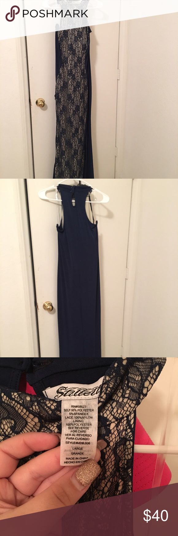 Formal dress Navy blue and cream formal dress. Stretchy spandex material never worn EUC Stilletto Dresses