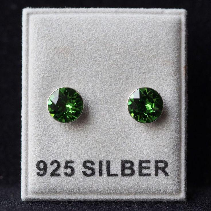 NEU 925 Silber OHRSTECKER mit 6mm SWAROVSKI STEINE fern green/grün OHRRINGE-£8,99-magoshop1
