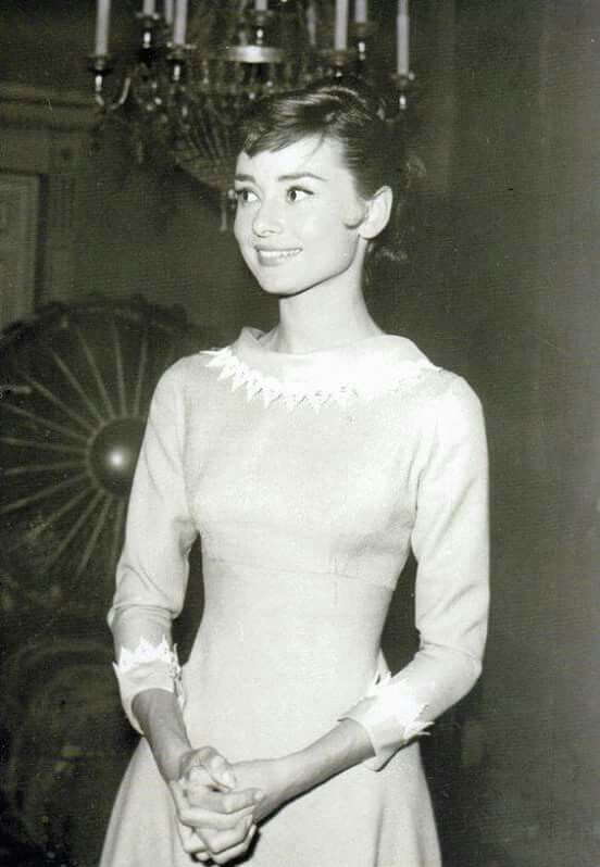 """Audrey Hepburn on the set of """"War and Peace"""", 1956"""