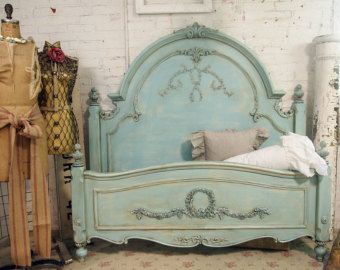 Painted Cottage Chic Shabby Aqua Queen Romance Bed BD205
