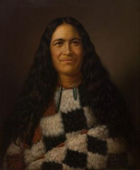 Huria Matenga Ngarongoa (Julia Martin) oil on canvas painting, by G Lindauer. (1874) Auckland Art Gallery.