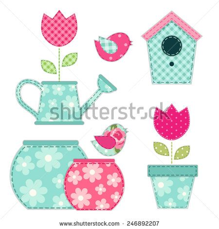 Cute retro spring and garden elements as fabric patch applique - stock vector