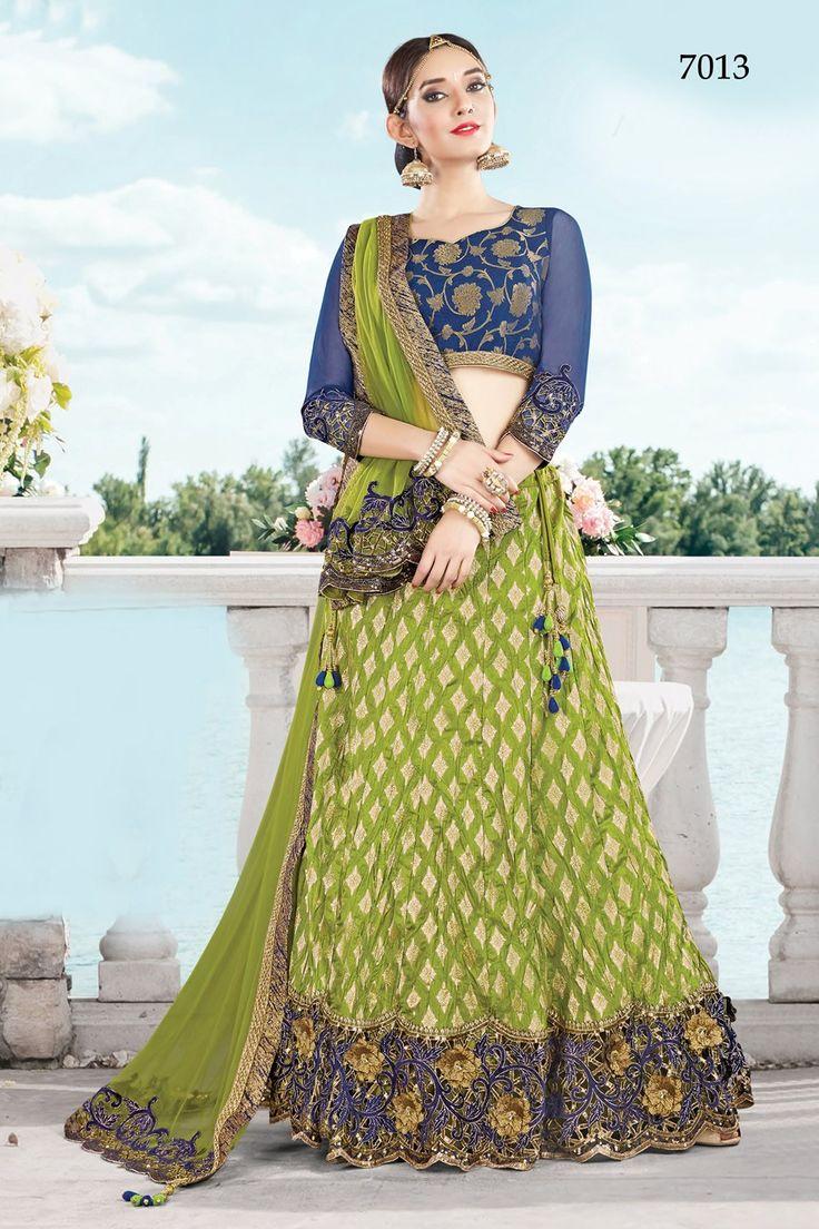 Buy Apparels- Designer Green Colour Crushed Silk Wedding Lehenga Choli