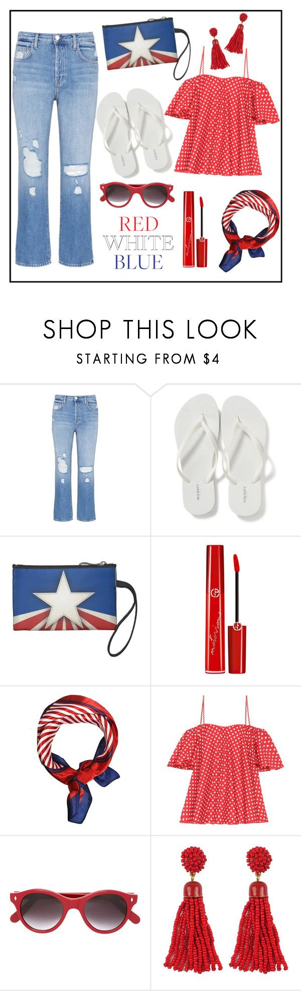 """""""Red White Blue!"""" by diane1234 ❤ liked on Polyvore featuring J Brand, Old Navy, Giorgio Armani, Anna October and Cutler and Gross"""