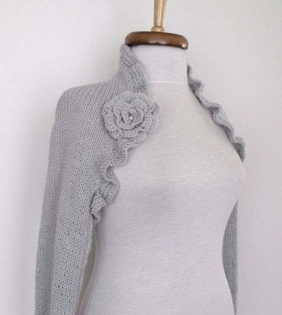 Light grey CASHMERE cotton long sleeves shrug With by knittingshop