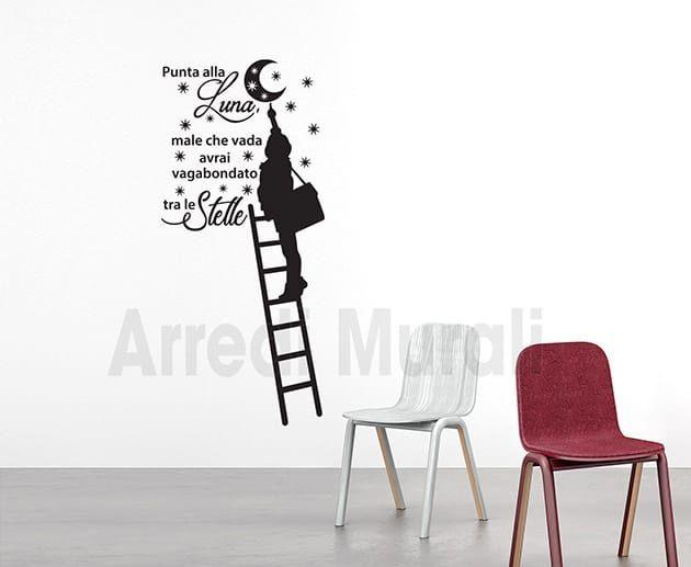 Frasi Adesive Da Parete.Adesivi Da Parete Frase Stelle Luna Decorazioni Murali