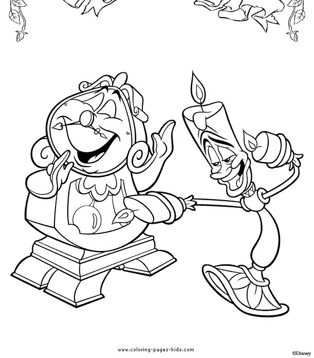 cogsworth and lumiere beauty and the beast color page disney coloring pages color - Colouring Pages For Kids Disney