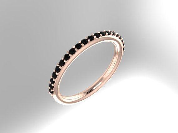 Black Diamond Wedding Band 14K Rose Gold Ring Diamond Matching Band Rose Gold Matching Band- V1064 on Etsy, $495.00
