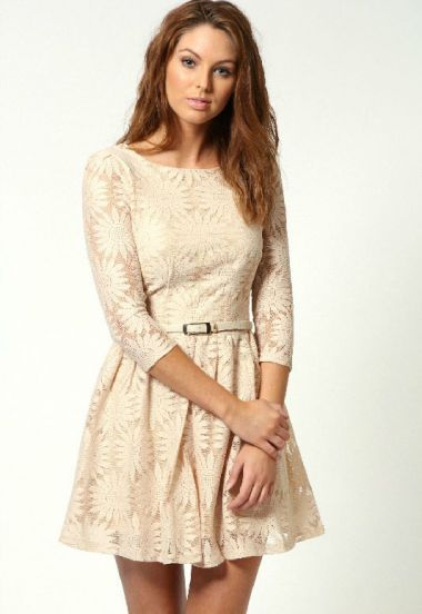 Beige Zipper V-back Sunflower Lace Skater Dress pictures