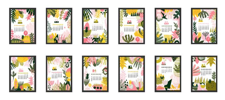 Calendar floral abstract 2018