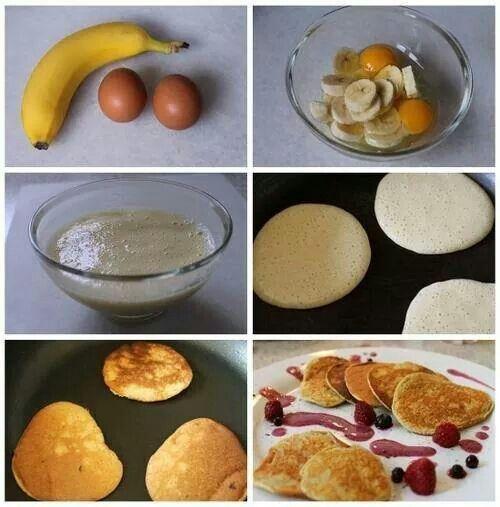 Hotcake con solo platanos Y huevo facil preparacion solo revuelve bien el huevo con el platano o licua y prepara como hotcake delicious!!!