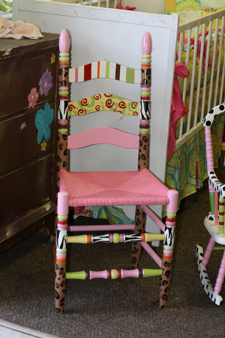 Ideas for hand painted chairs - Colorful Furniture Funky Furniture Painted Furniture Furniture Ideas Furniture Makeover Decorated Chairs Hand Painted Chairs Ladder Back Chairs