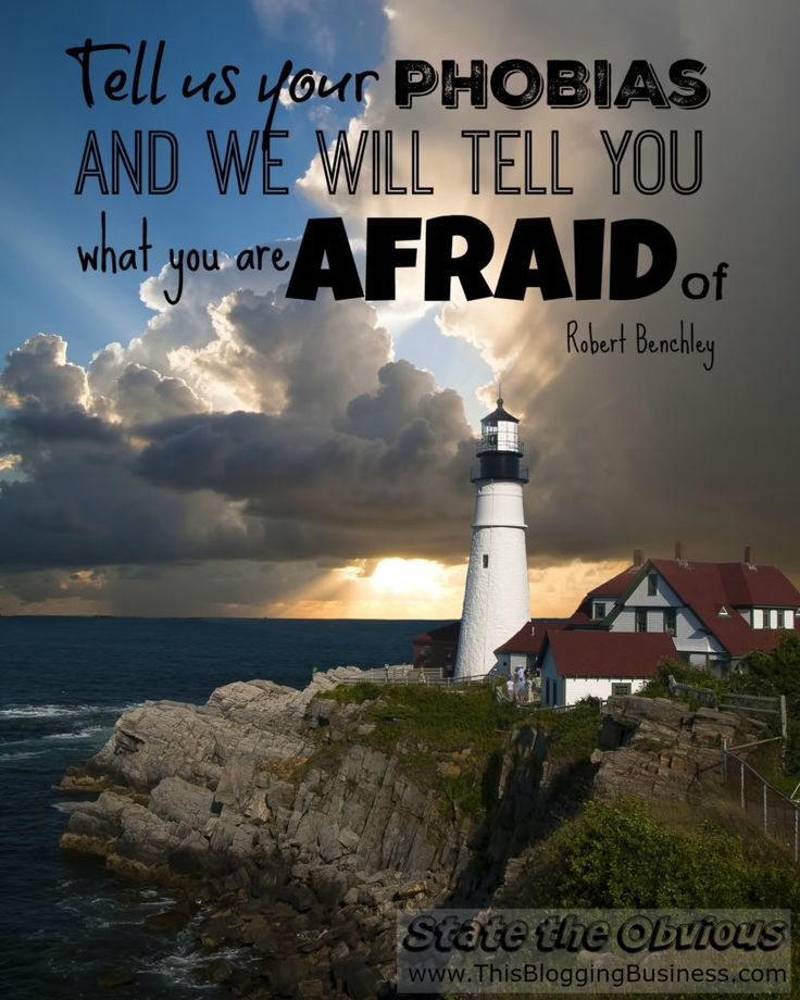 Tell us your phobias and we will tell you what you are afraid of. Another State the Obvious quote by Robert Benchley. I don't get it, but when someone asked me if I was afraid of success I thought of this quote. Both seemingly insensible statements. But t