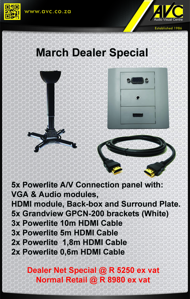Powerlite March Dealer Special 5 x Powerlite Modular AV Connection Wall Panels - HDMI, VGA & Audio modules 5 x Grandview Projector Brackets 10 x HDMI Cables - various lengths - 0.6, 1,8, 5 and 10 metre