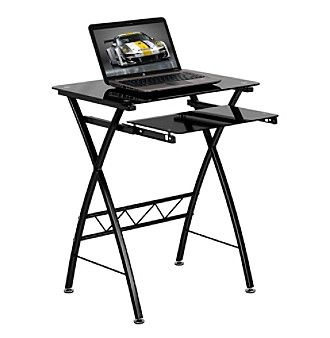Flash Furniture Black Tempered Glass Computer Desk with Pull-Out Keyboard Tray